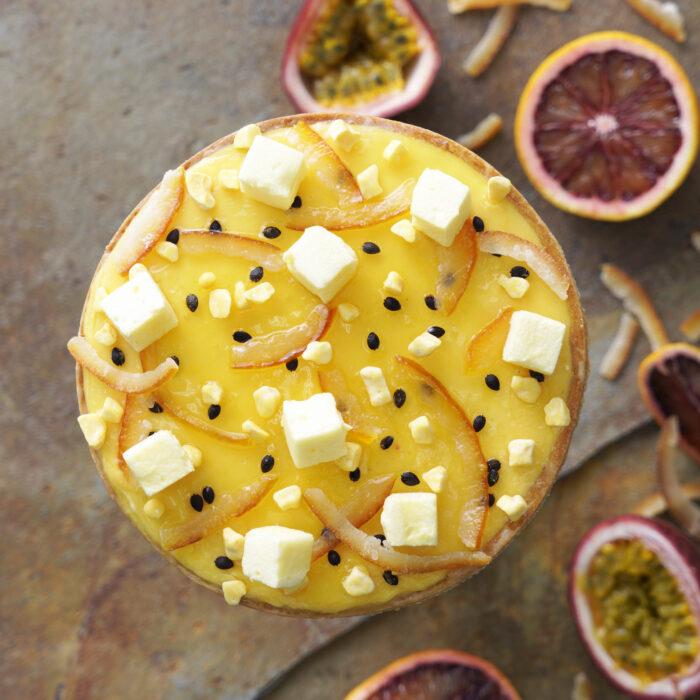 パッションフルーツとブラッドオレンジのタルト